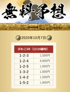 舟遊記無料予想(10月2日)